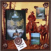 3 Picture frame Trail Cowboy and Mule