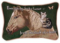 Everything Looks Better - From the Back Of A Horse! pillow
