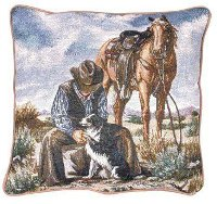 """Good Company"" Tapestry Western Decorator Pillow"