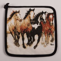 Running Horses Pot Holder