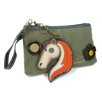 Clutch with Horse Key FOB - Olive Color