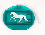 "Round Luggage Tag in Turquoise with ""Lila"" Galloping Horse"