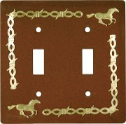 Rustic Running Horse Duplex Light Switch Cover