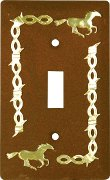 Rustic Running Horse Single Light Switch Cover