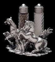Salt and Pepper Set with Twin Rearing Horses in Aluminum