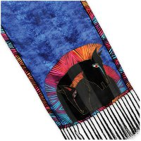 """Embracing Horses"" Silk Fringe Scarf by Laurel Burch"