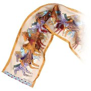"""Native Horses"" Silk Sequined Scarf in White by Laurel Burch"