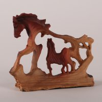 Small Brown Horse Sculpture within another Horse