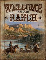 """Welcome to the Ranch"" Cowboy and Longhorns tin sign"