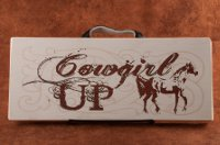 """Cowgirl UP"" Painted Wooden Sign."