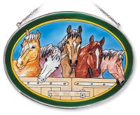"""A Horse of a different Color"" Hand-Painted Glass Suncatcher"
