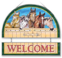 """Horse of a different color"" Welcome Hand-Painted Glass"