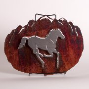 3-D Horse and Mountain Steel Wall Hanging