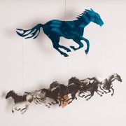 """Running Horses"" Wind Chimes with Teal Powder Coat"