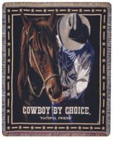 "Cowboy by Choice ""Faithful Friend"" mid-size tapestry throw"