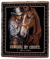 Cowgirl by Choice (Gotta Ride) mid-size tapestry throw