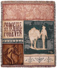 Cowgirl Forever Tapestry Throw with horses
