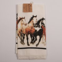 Running Horses Terry Kitchen Towel