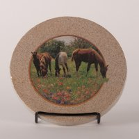 """Yearlings and Wildflowers"" - Thirstystone Sandstone Trivet"
