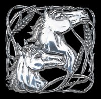 Twin Horse Head Wheat Trivet in Brilliant Aluminum