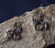 Trotting Horse Earrings in Silver with Paua Shells