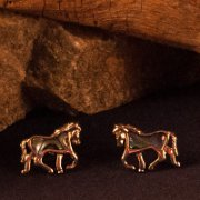 Trotting Horse Post Earrings with Paua Shell Inlay