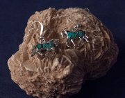 Turquoise Flake Trotting Horse Earrings