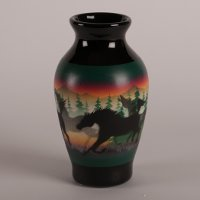 Cave Towers Navajo Vase with Classic Wild Horses artwork