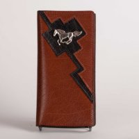 Leather Wallet in Brown with Black trim and Horse Concho
