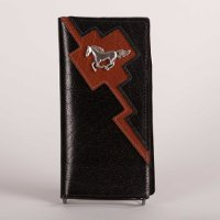 Leather Wallet in Black with Brown trim and Horse Concho