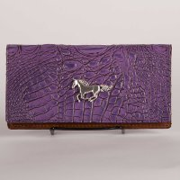 Leather Wallet in Purple Croc Finish with Horse Concho