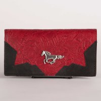 Leather Wallet in Red with Black trim and Horse Concho