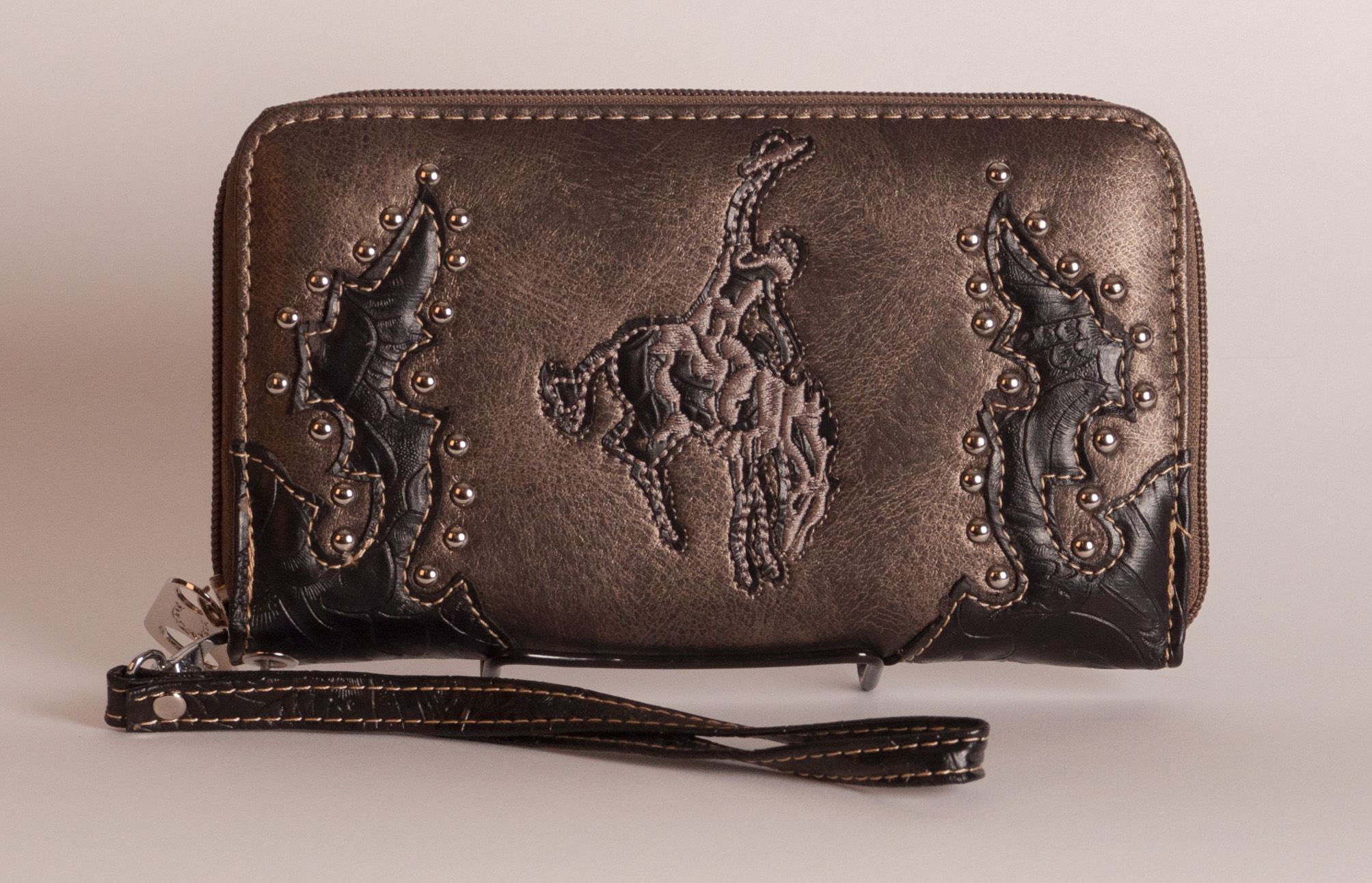 Tooled Embroidered Wallet - Bronco Horse and Rider in Bronze