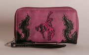 Tooled Embroidered Wallet - Bronco Horse and Rider in Pink