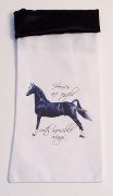Black SatinTrimed Wine Bag with Standing horse