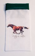 Galloping Horse on Green Satin Trimed Wine Bag
